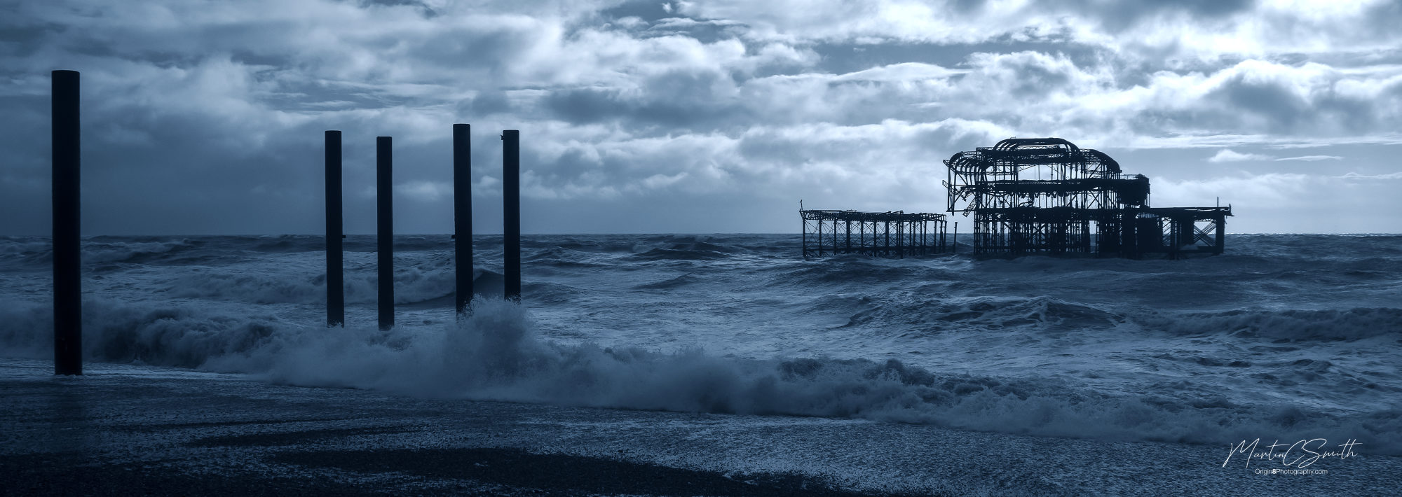 Brighton Pier in dramatic seascape